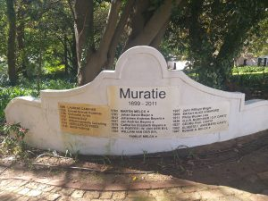 The history of Muratie showing the owners.
