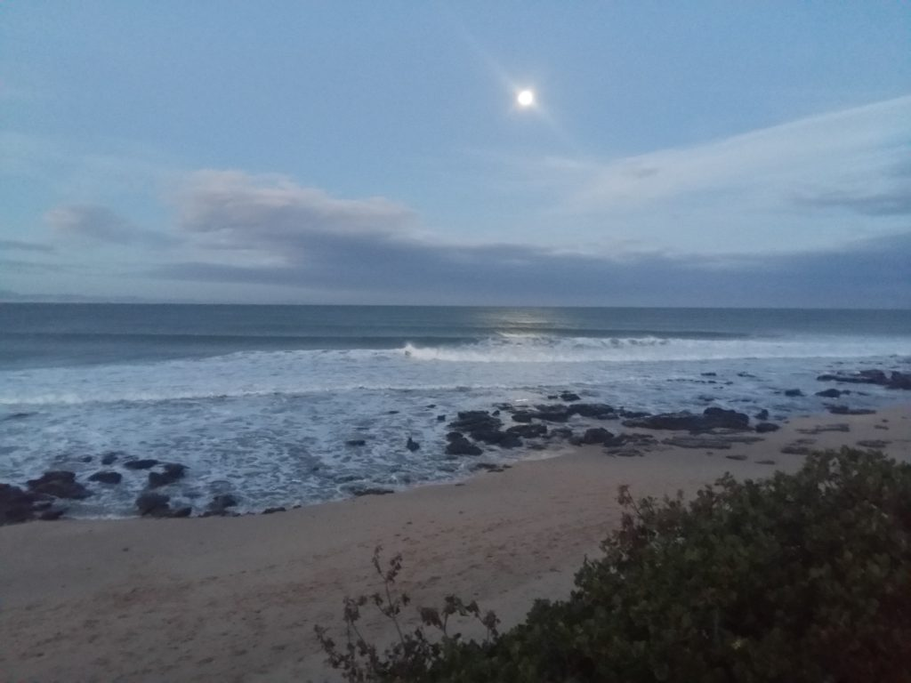 The boardwalk at Supertubes, Jeffreys Bay as the moon rises.